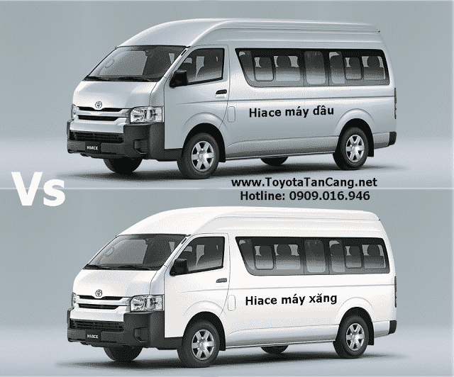 so sanh toyota hiace may dau va hiace may xang