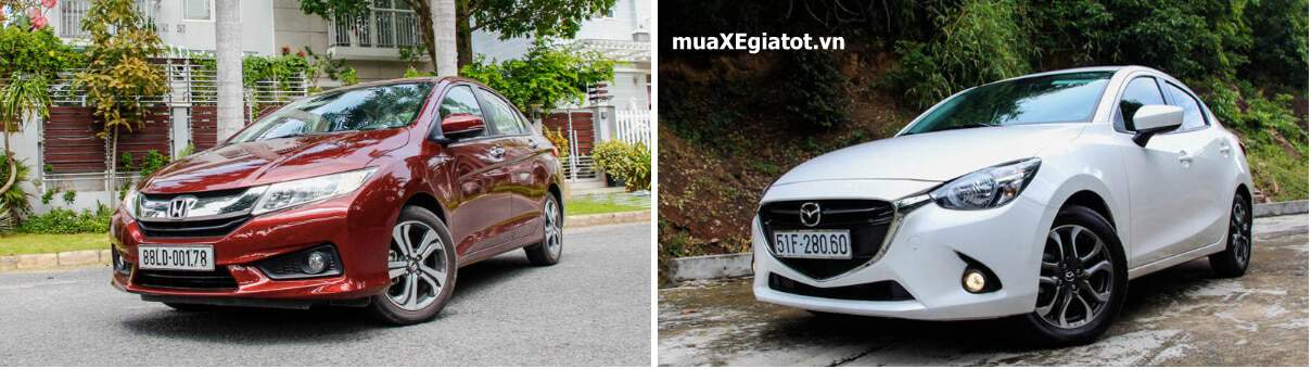 so sanh ngoai that xe honda city 2017 va mazda2 sedan