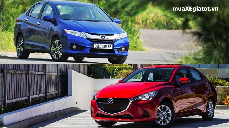 so sanh honda city 1.5top 2017 va mazda2