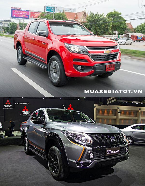 So sánh Chevrolet Colorado High Country và Mitsubishi Triton Athlete (Đầu xe)